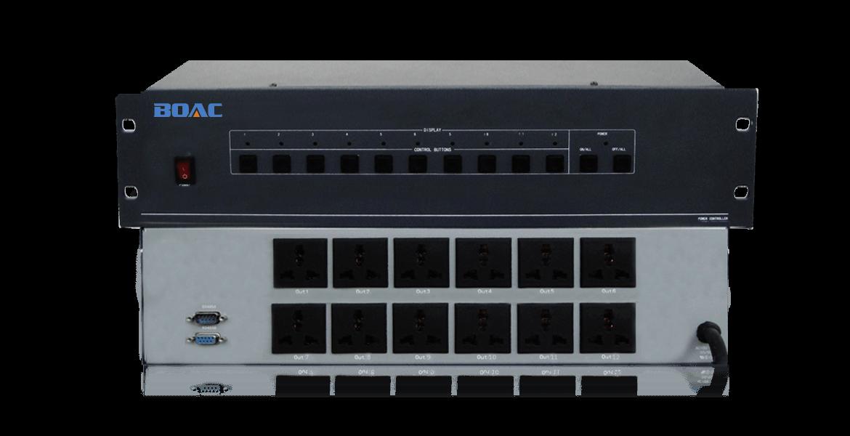 电源通道         每路220V 50HZ 30A 通道数目         12路 控制方式         面板控制/RS232/RS485控制 控制端口         RS-232 波特率          9600(可改变) 数据位          8 停止位          1 校验位          无 控制结构         1=TxD,2=RxD,5=GND(地) 功率           20W 平均故障间隔时间     50000小时 外形尺寸         3U标准